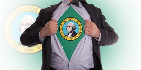 Businessman with Washington flag t-shirt