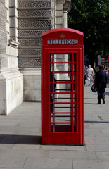 classic red telephone booth in london, england