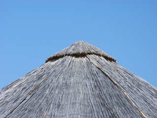 Bamboo beach umbrella closeup