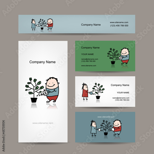 Design of business cards with money tree concept