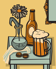still life with a glass of beer, a bottle on the table