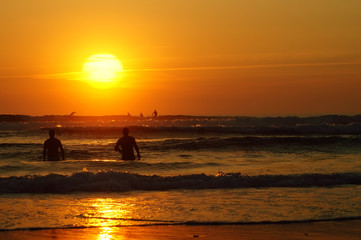 Surf in Lacanau at sunset