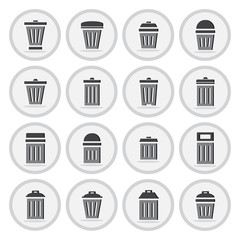Vector of flat icon, trashcan set on isolated background