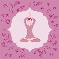 yoga femme lotus mains jointes en l'air