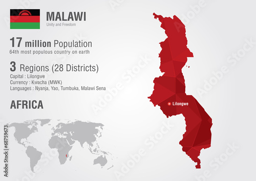 Malawi world map with a pixel diamond texture.