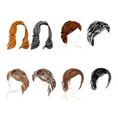 Hair natural and silhouette Vector