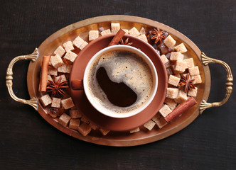 Brown sugar, spices and cup of coffee