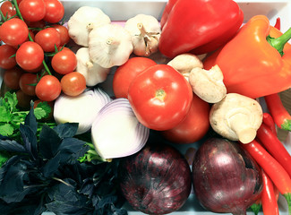 Fresh vegetables on a tray