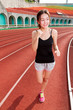 Chinese woman jogging