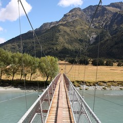 Hiking trail in Mt Aspiring National Park, New Zealand