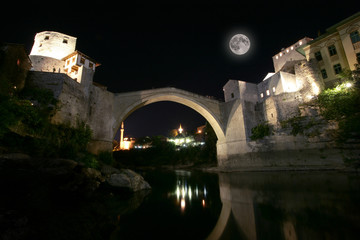 Mostar bridge at night