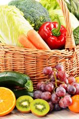 Wicker basket with groceries. Balanced diet