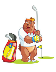 Golf Bear Cartoon
