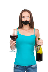 Woman standing with alcohol on white background.