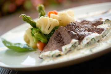 beef with steamed vegetables