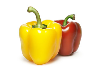 Red and yellow sweet pepper isolated on white background
