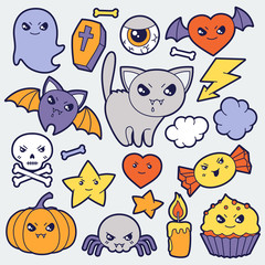 Set of halloween kawaii cute doodles and objects.