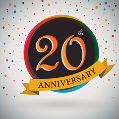 20th Anniversary poster/template retro style -Vector Background