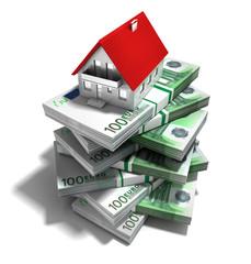 Haus auf 100 Euro-Stapel