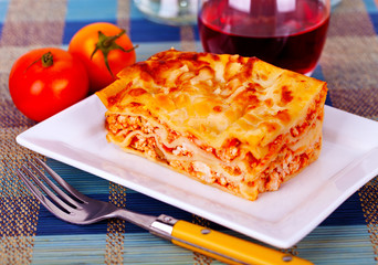 lasagne plate on a tabletop
