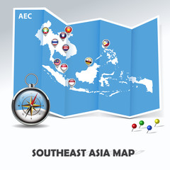 abstract Southeast Asia map, blue paper