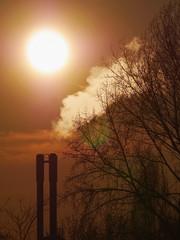 industrial chimneys sun