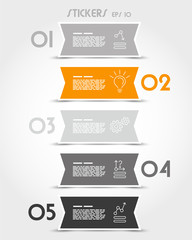 orange ribbon modern stickers with icons