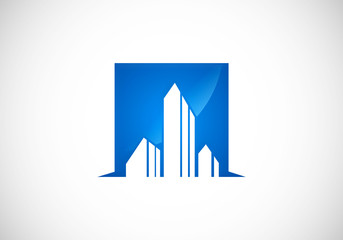 city building abstract vector logo