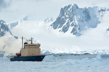 sailing on an icebreaker iced Antarctic Strait spring day