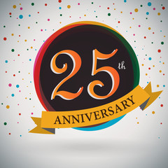 25th Anniversary poster/template retro style -Vector Background