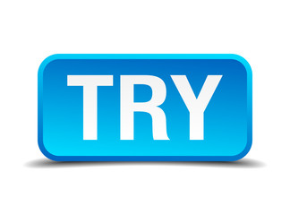 try blue 3d realistic square isolated button