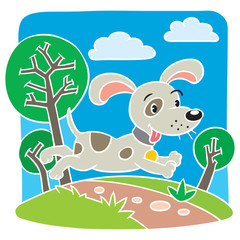 Children vector illustration of little dog