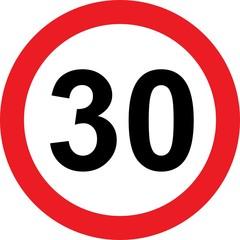 30 speed limitation road sign