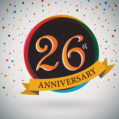 26th Anniversary poster/template retro style -Vector Background