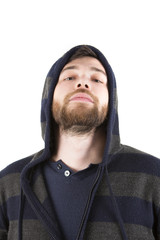 young beard man wearing a hooded shirt