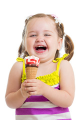 smiling kid girl eating icecream