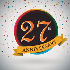 27th Anniversary poster/template retro style -Vector Background
