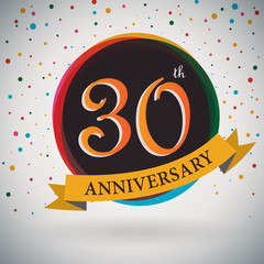 30th Anniversary poster/template retro style -Vector Background