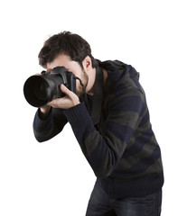 Photographer with camera, isolated on white background