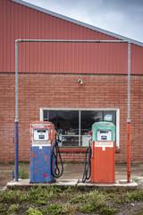 Vintage fuel pomp at closed petrol station