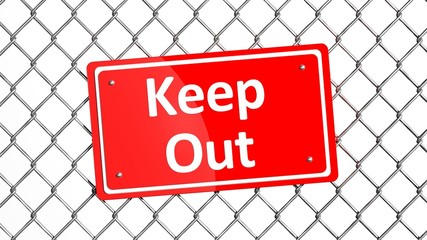 Metal fence with red sign Keep Out isolated