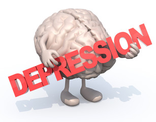 """brain with arts that embraces a word """"depression"""""""