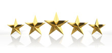 "Постер, картина, фотообои ""Five golden stars isolated on white background"""