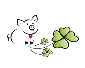 Glücksschwein mit Kleeblättern
