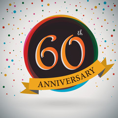 60th Anniversary poster/template retro style -Vector Background