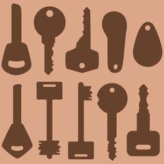 Vector Set of Silhouette Modern Keys