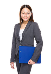 Asian mixed businesswoman with clipboard