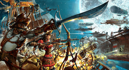 Steampunk forever, background for your desktop