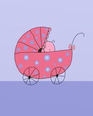 Dolce bebè in carrozzina