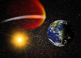 """Attack of the asteroid on the Earth """"image furnished by NASA"""